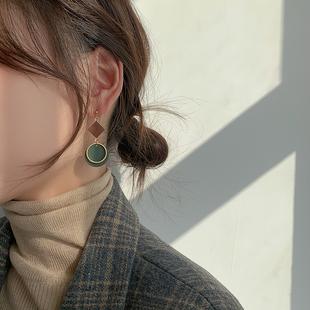 幾何莫蘭迪撞色耳環簡約高級感純銀耳釘復古氣質耳飾耳夾無耳洞女
