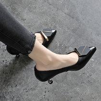真皮女鞋子春秋高跟鞋气质单鞋2021年新款夏季皮鞋春款女士细跟鞋