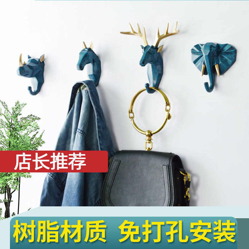 Creative antler American home decor hook personalized deer head non perforated wall adhesive hook wall hanging key hook