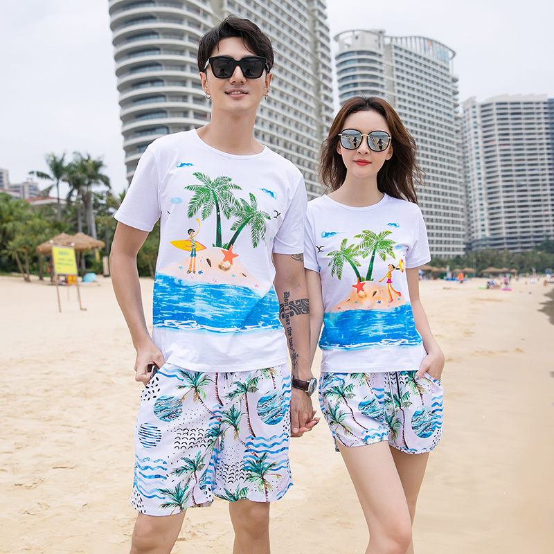 2021 niche design hot spring beach suit mens fast dry couples shorts womens beach resort swimming pants short sleeve