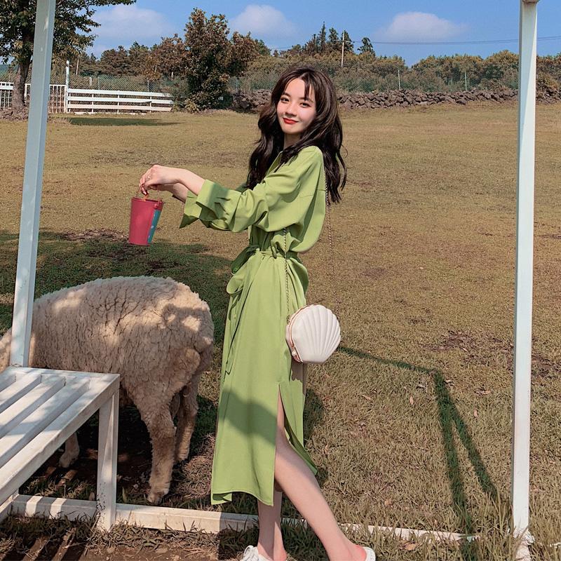 牛油果绿连衣裙2021春秋新款智熏法式桔梗裙气质仙女超仙森系裙子