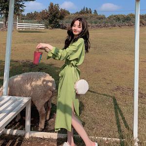 牛油果绿2021春秋新款智熏连衣裙
