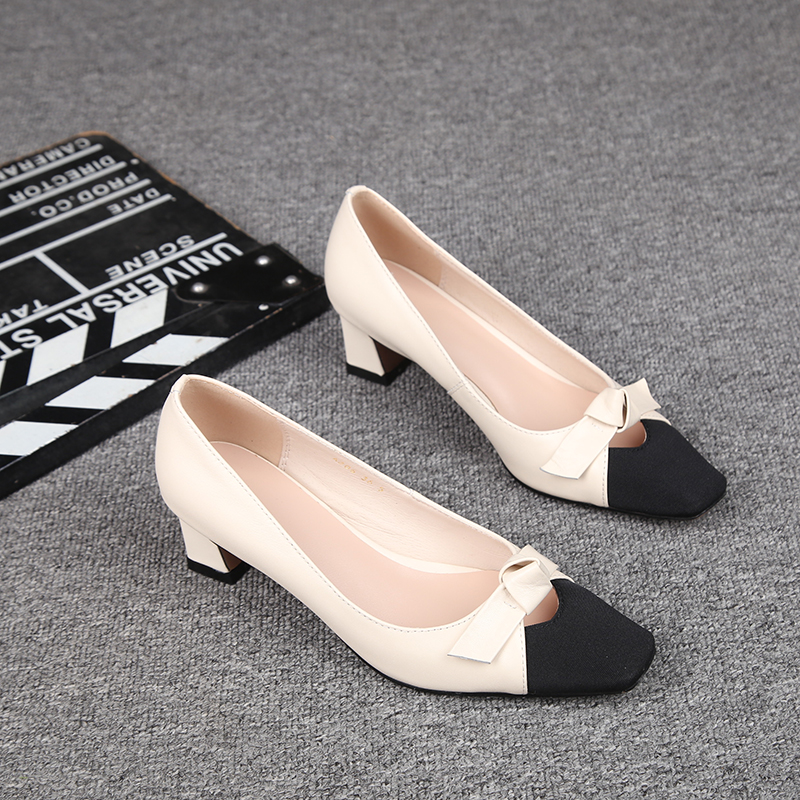 春季新款小香风方头粗跟单鞋女中跟百搭蝴蝶结真皮浅口高跟鞋5cm