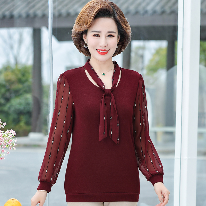 Mothers Day gift mothers clothes early spring summer wedding parents wear long sleeve top middle-aged and old peoples undershirt