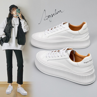 Leather white shoes women's spring 2021 new women's shoes explosive spring and autumn wild thick-soled ins tide board shoes biscuit shoes