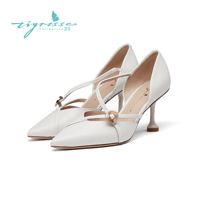 TS walking spring new French versatile lucky gold coin small pointed high heel hollow out single shoe ta10103-13