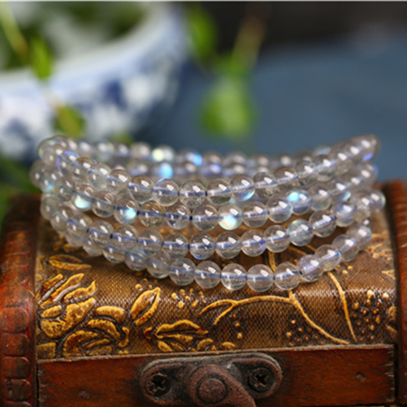 Factory direct selling luxury natural grey moonlight multi Circle Bracelet elongated stone 108 hand string lady Crystal Bracelet