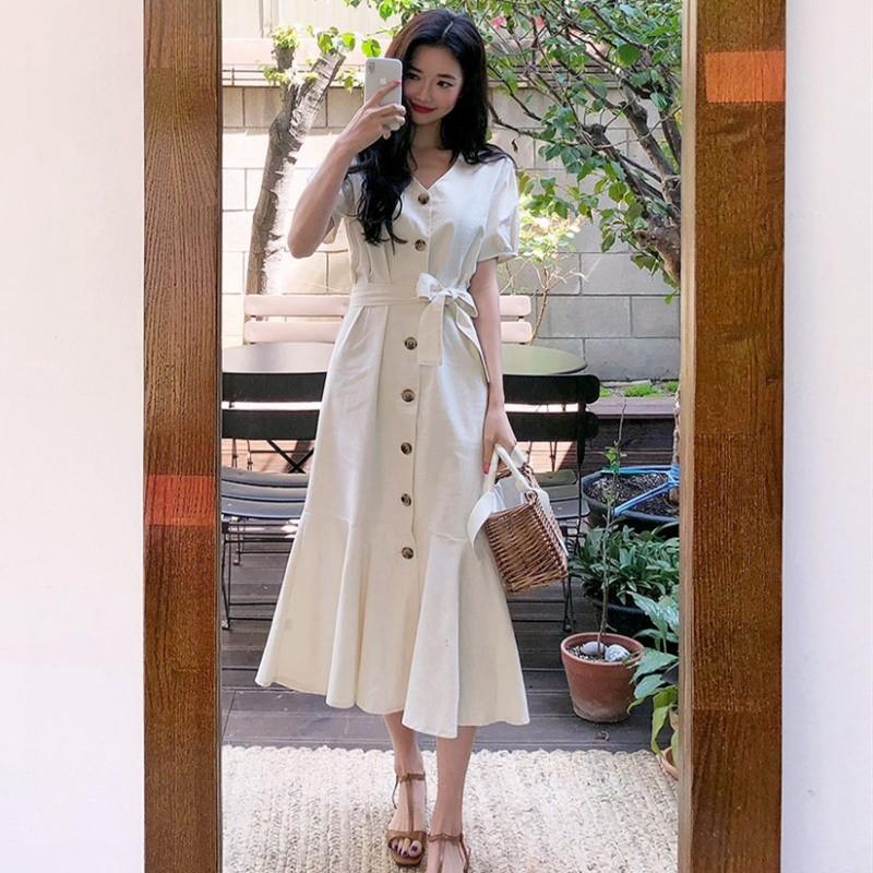 法式仙气森系学生长款到脚踝长裙超长及踝显瘦显高气质神仙连衣裙(用15元券)