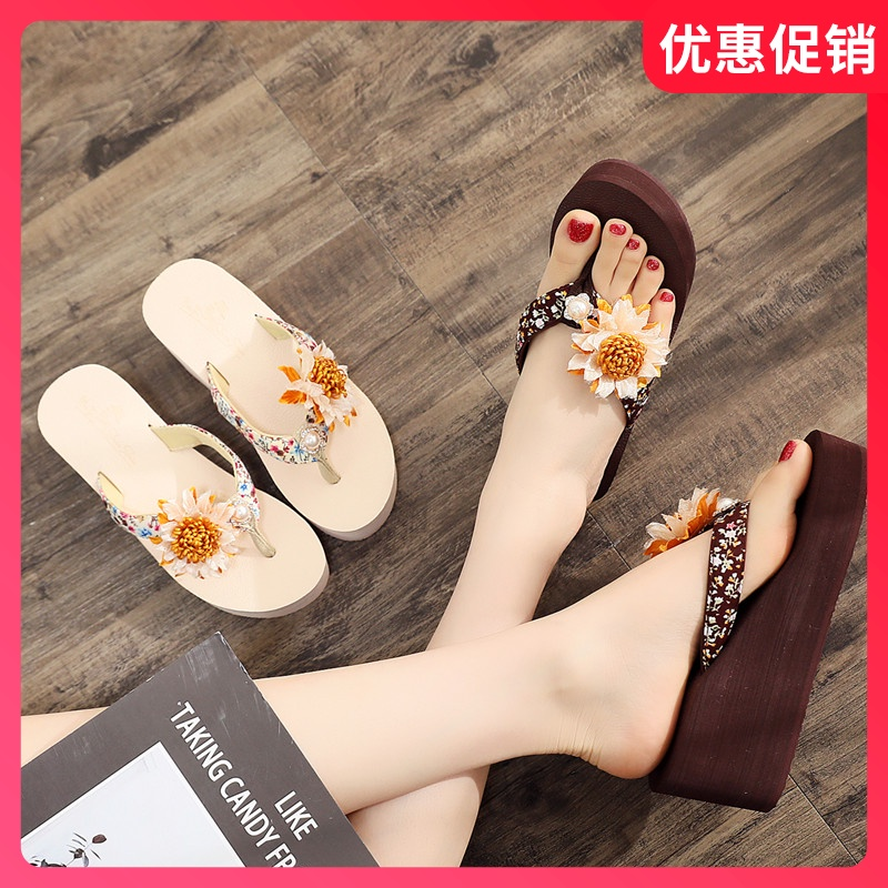 Net red new style slippers womens summer high heels wear seashore herringbone slippers show thin antiskid sandals fashion beach clip drag