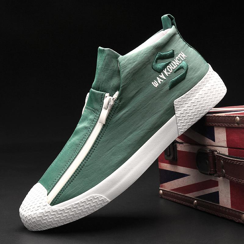2020 giày nam mùa xuân phiên bản mới Hàn Quốc hợp thời trang giày thủy triều hoang dã giày vải cao cấp giày vải cao cấp giày nam - Plimsolls