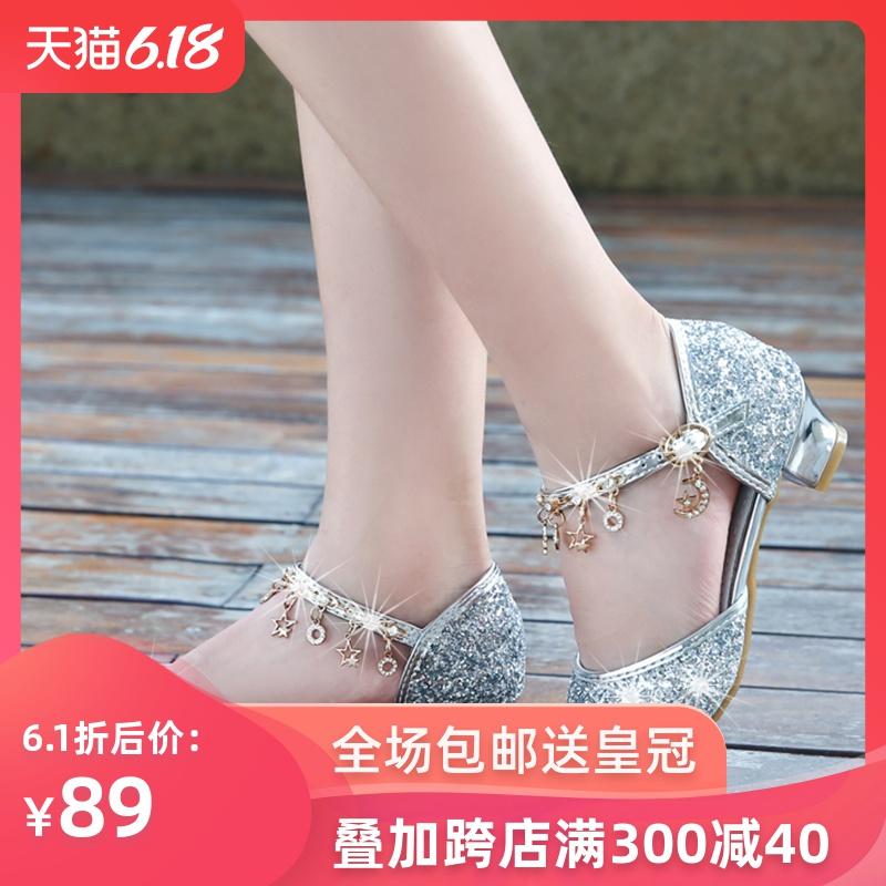 儿童高跟鞋女公主鞋女童鞋水晶凉鞋新款中大童皮鞋演出新款水晶鞋
