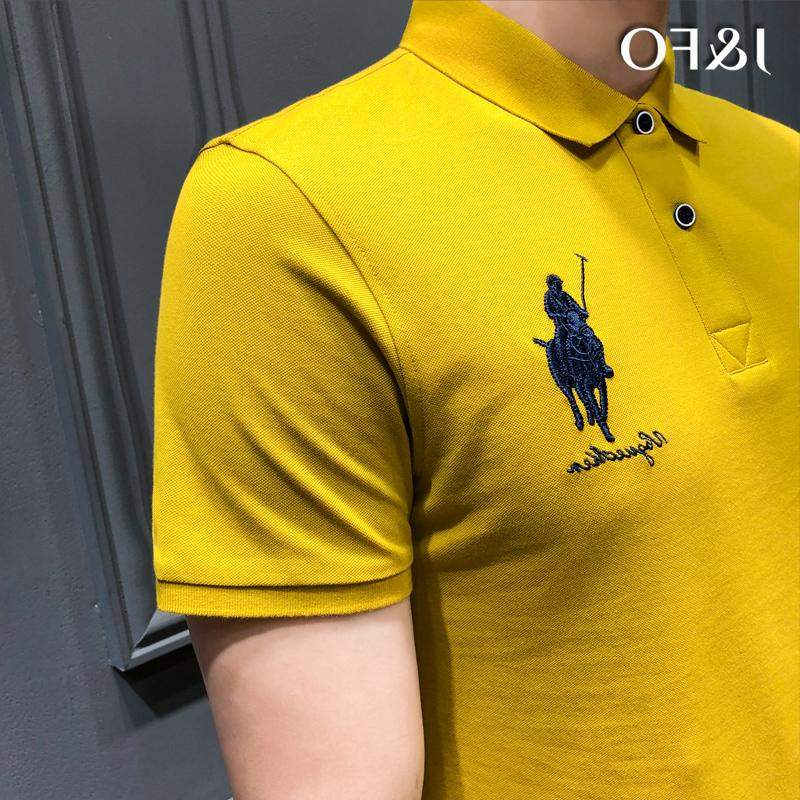 Special counter hot selling Hong Kong Style polo shirt mens fashion brand Polo embroidery Paul short sleeve T-shirt cotton ins Korean version