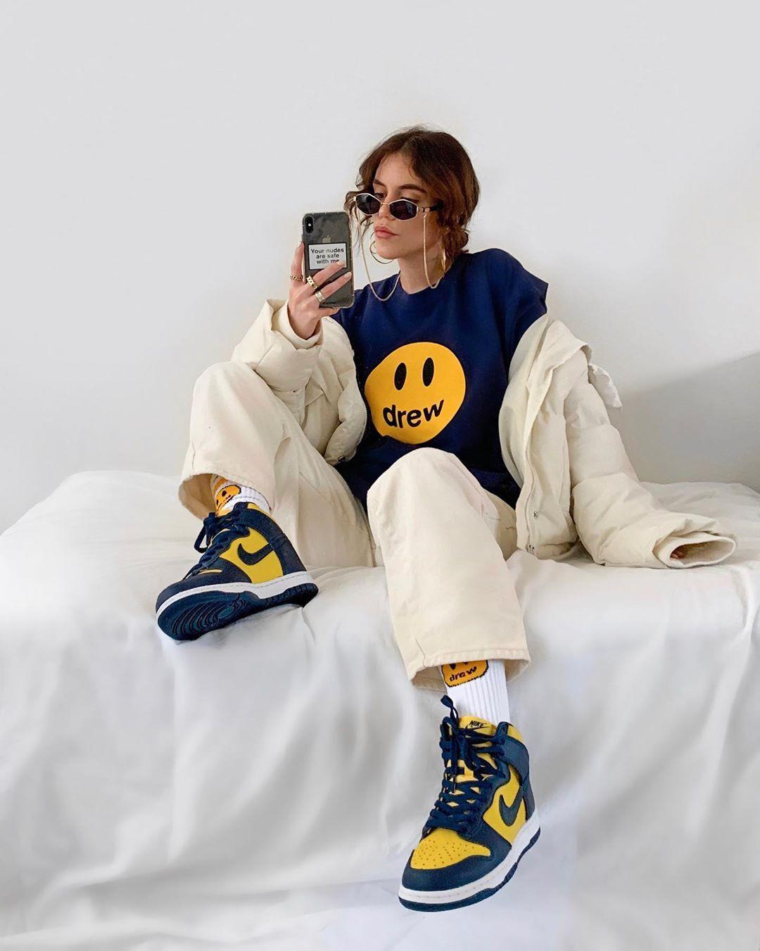 drew笑脸海军蓝短袖欧阳娜娜同款美式休闲FOG高街情侣T恤宽松tee88元