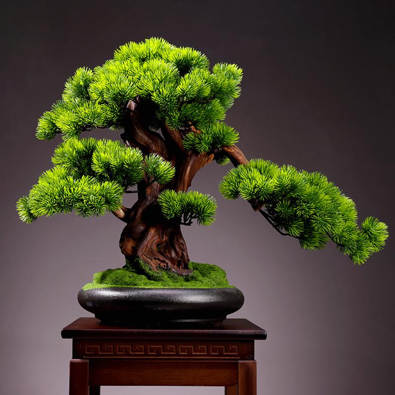 客厅仿真植物盆景室内迎客松绿植盆栽大型假树桌面微景观装饰摆件