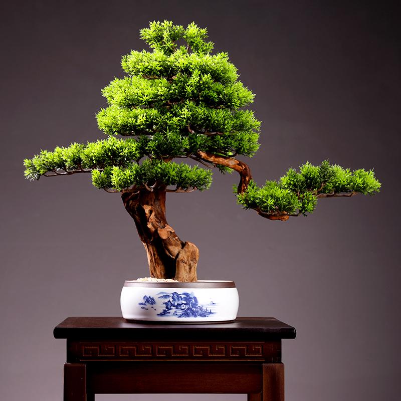 客厅迎客松植物盆景装饰室内桌面仿真绿植盆栽假花酒店摆设艺术品
