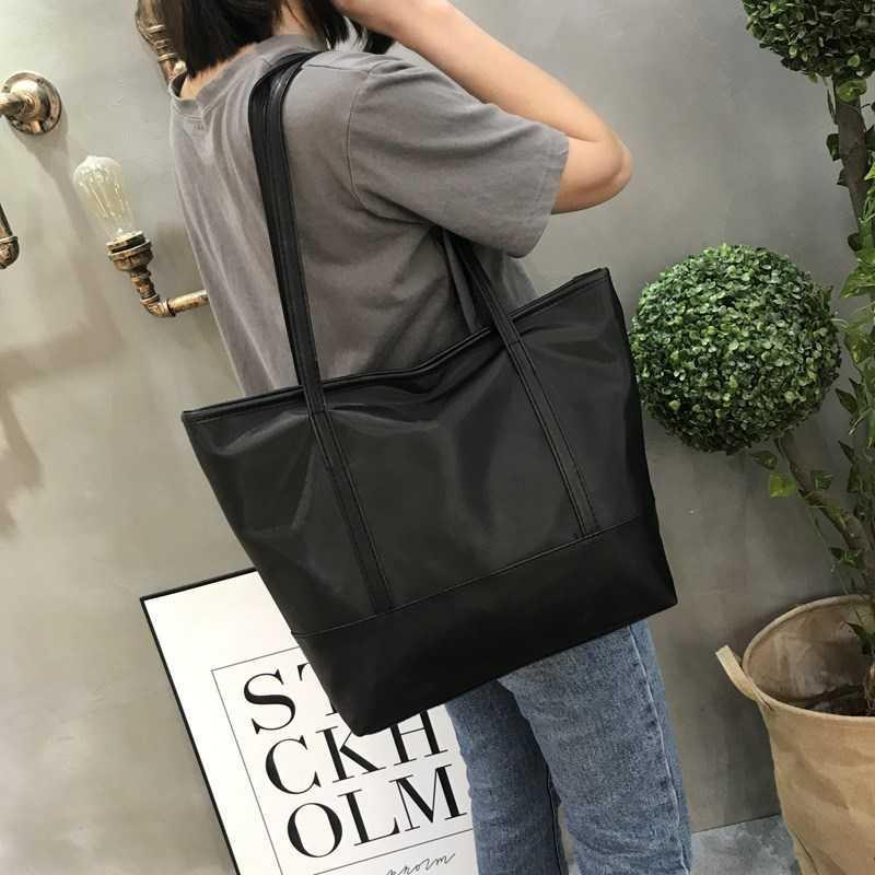 Big bag womens 2019 new simple waterproof Oxford cloth commuting one shoulder portable tote bag large capacity shopping bag