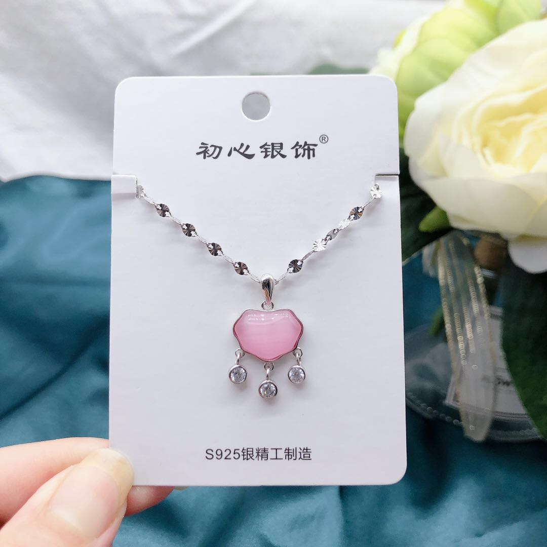 Xiaoya silver jewelry, Sterling Silver pop cats eye, pink white lock necklace for girlfriend
