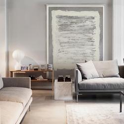 高级黑白灰装饰画客厅大幅落地画抽象玄关挂画赤贫风后现代墙壁画