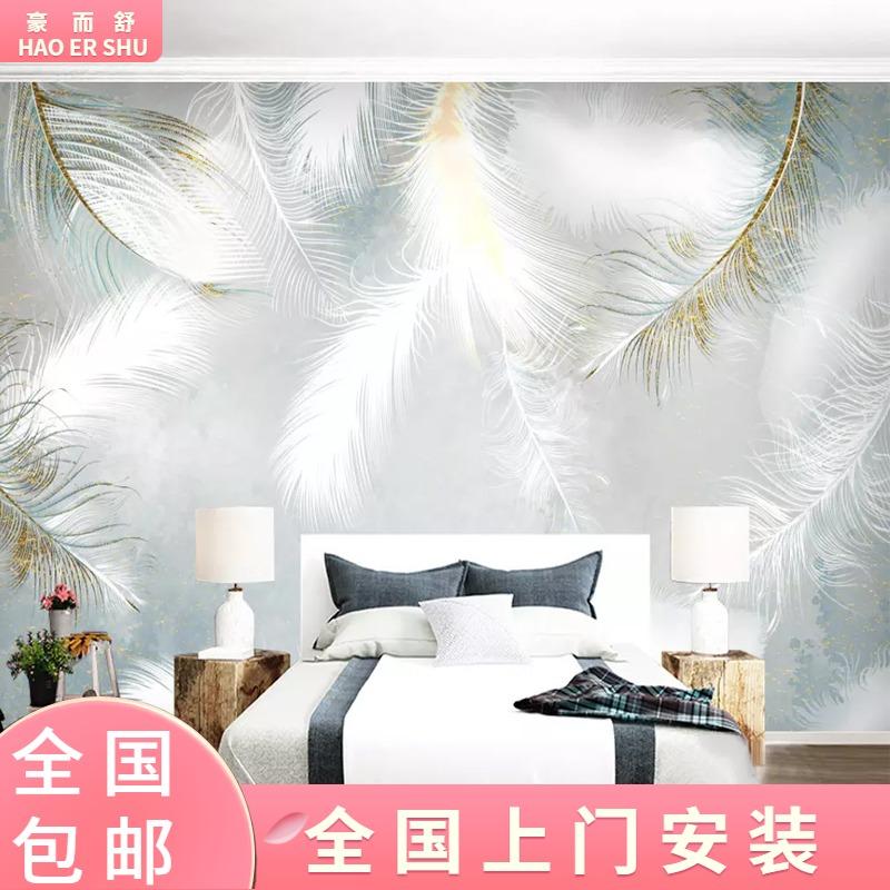 客間の映画とテレビの壁紙の現代簡単な手描きの羽の壁は北欧の6 D立体の壁画のテレビの背景の壁の壁紙を配置します。