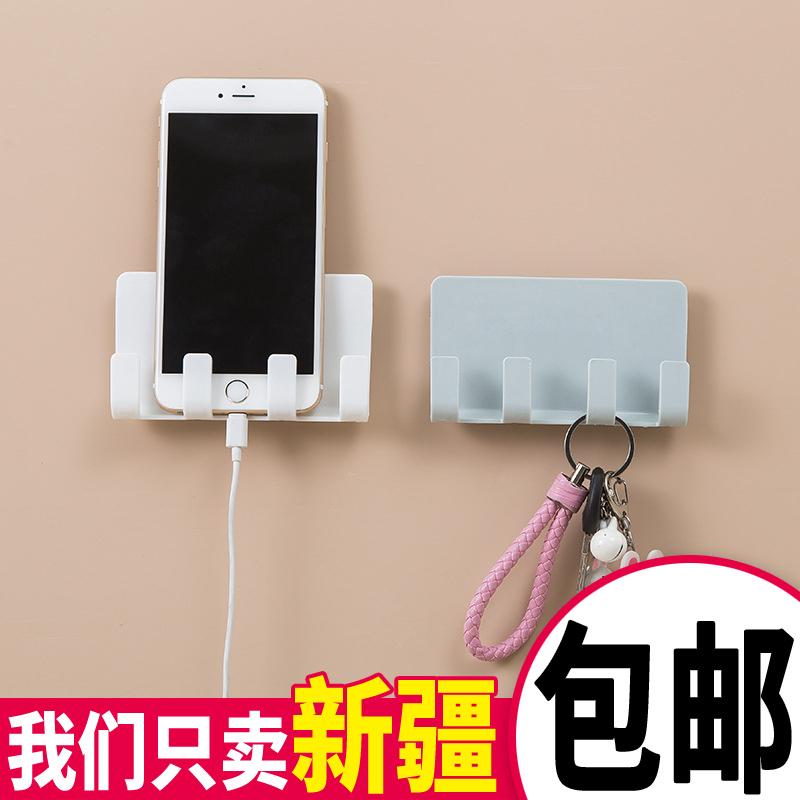粘贴式创意手机座ipad充电支架墙壁无痕收纳挂架免打孔墙上置物架