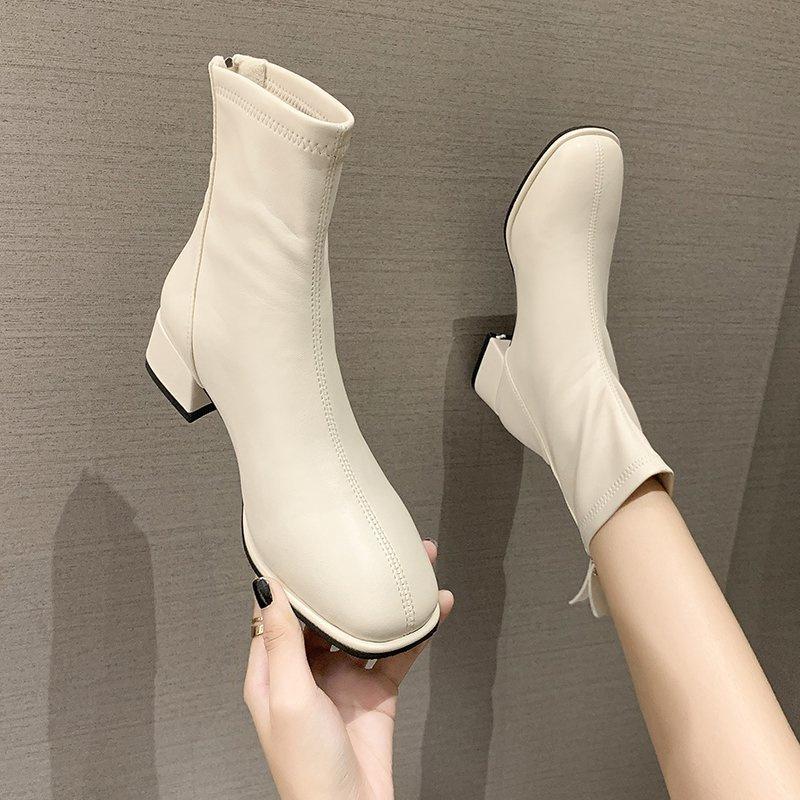 软皮中跟chic小短靴女2021新款秋冬百搭马丁靴时尚方头粗跟瘦瘦靴