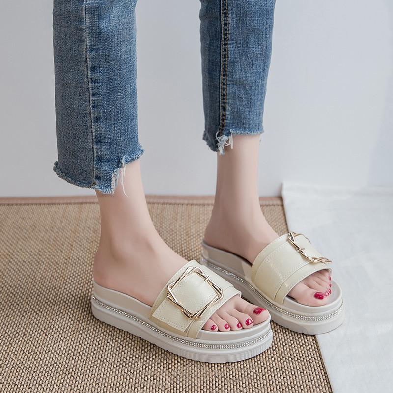 厚底拖鞋女夏外穿ins潮2020新款夏季百搭皮带扣时尚松糕女士凉拖