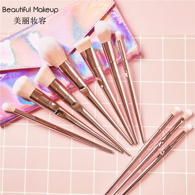Giant soft recommend wet and wild series 10 makeup brush sets, portable eye shadow brush, full set of beauty tools blush.