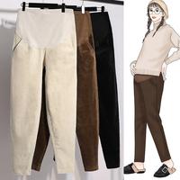 孕妇裤子冬季时尚休闲裤宽松灯芯绒孕妇装秋冬款加绒外穿条绒长裤