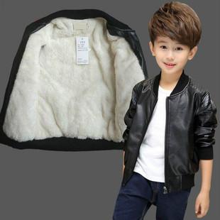 秋冬季新品男童外套秋装男孩上衣皮衣中大儿童加绒男宝宝皮衣夹克