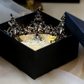 黑色头冠新娘头饰皇冠女十八岁网红18成年礼生日公主结婚王冠项链