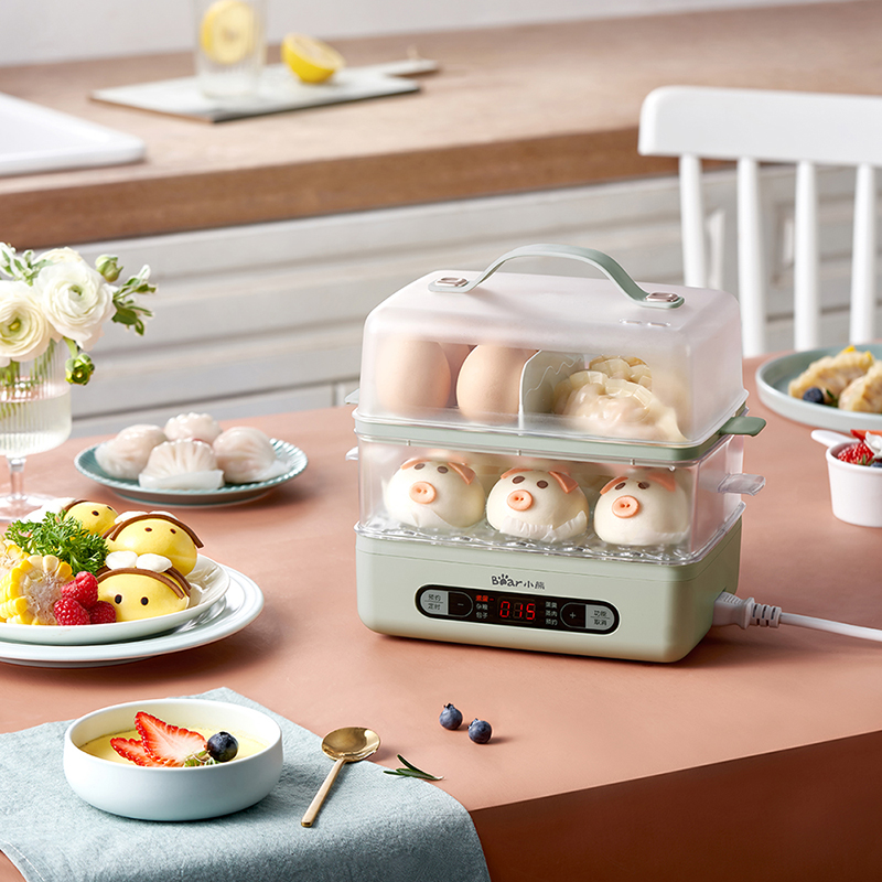 小熊煮蛋器双层蒸蛋器家用多功能小型1人迷你小家电神器早餐机