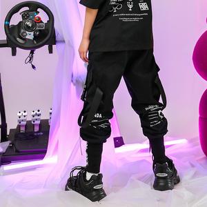 熊猫风暴官方潮牌机能儿童嘻哈宽松街舞工装裤束脚裤男童裤子女童图片