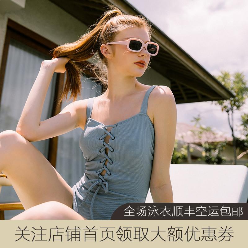 jinxueer2019新款纯色绑带女游泳衣满1088.00元可用820元优惠券