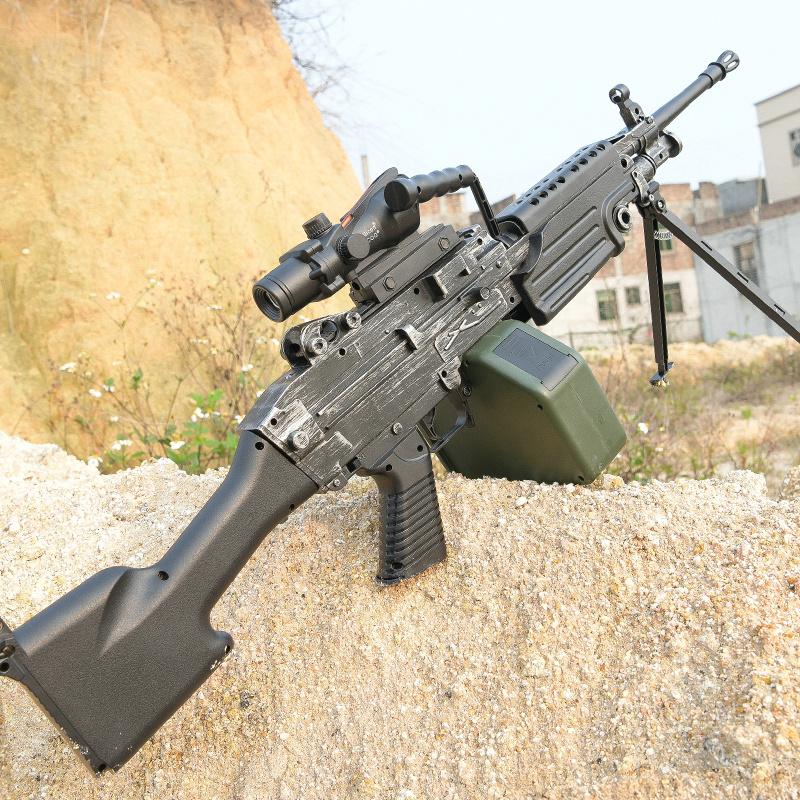 M249电动连发水弹枪绝地模型求生吃鸡装备抢儿童玩具枪机关枪男孩,可领取10元天猫优惠券