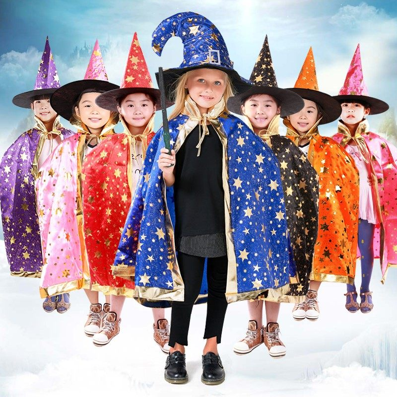Childrens costume, girl boys suit, cloaks, witches clothes, performance props cospaly
