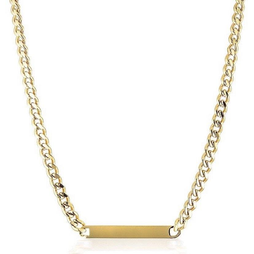 Blank square brand can customize name content Necklace Fashion temperament titanium steel chain