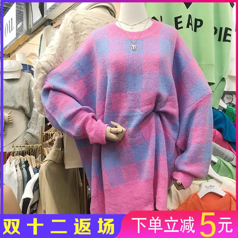 大码毛衣2020韩版秋冬季宽松减龄圆领套头上衣特价 不退不换