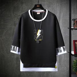 男士五分袖短袖T恤男春季韩版潮流学生宽松秋衣上衣七分半袖体恤
