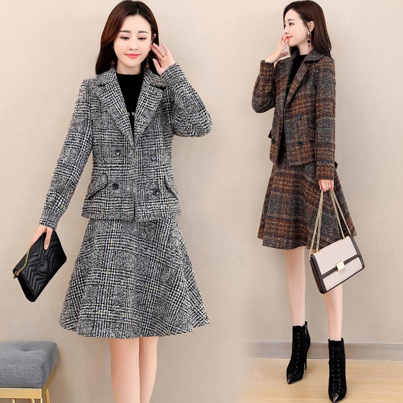 蝴蝶结束腰毛呢时尚短裙西装套装2020秋冬新款韩版修身妮子两件套