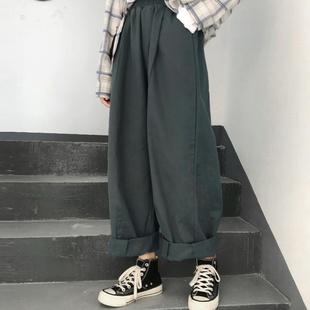 阔腿裤 200斤秋装 子女学生韩版 胖妹妹宽松显瘦工装 大码 直筒裤 女装