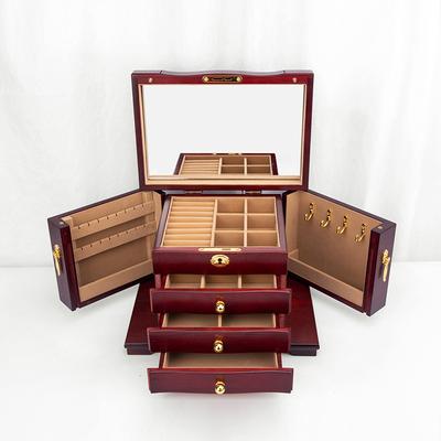 实木复古带锁镜子中式梳妆盒珠宝首饰盒收纳盒古风中国风家用多层