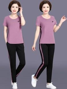 中年媽媽夏裝2020新款運動套裝女中老年人兩件套短袖t恤洋氣上衣