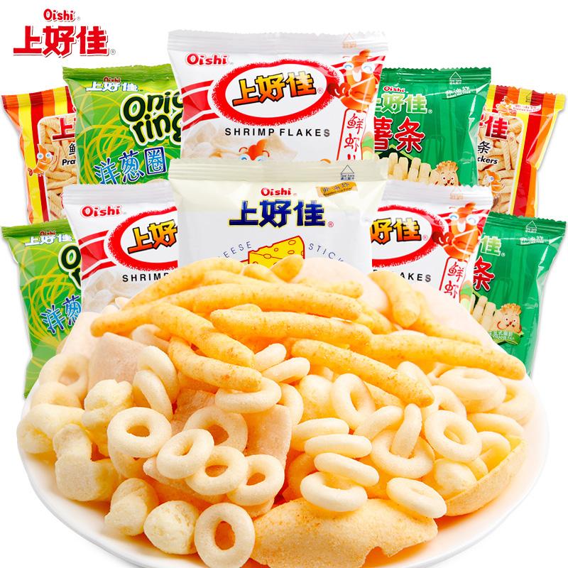 上好佳6g/7g*20包鲜虾片小包装多口味混合组合膨化网红休闲小零食