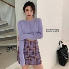 紫色格子半身裙女夏季韩版高腰显瘦开叉包臀裙短裙子针织开衫套装