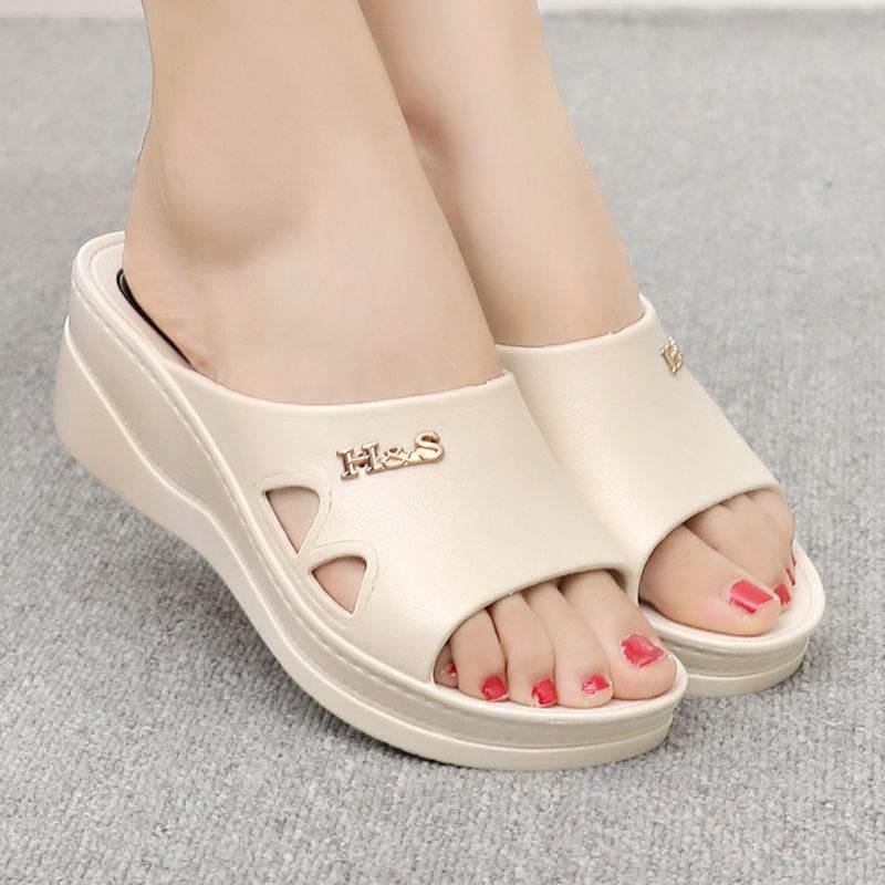 新款拖鞋女夏外穿时尚厚底跟坡居家室内室外防滑社会女士凉拖图片