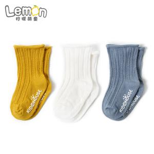 婴儿袜子松口纯棉春秋薄款防滑男孩女童新生儿童长筒中筒地板长袜