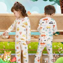 宝宝睡衣夏季薄款男童女童长袖空调服男女儿童纯棉空调家居服套装