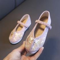 女童绣花鞋中国风儿童汉服鞋古装表演出布鞋民族风复古宝宝舞蹈鞋