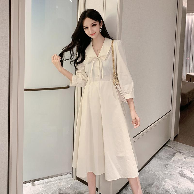 复古法式小众梗桔初恋v领女连衣裙156.80元包邮