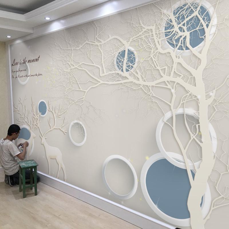 北欧风格麋鹿电视背景墙壁纸现代简约客厅卧室墙纸壁画影视墙墙布